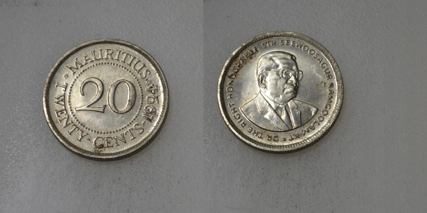 Mauritius 10 Cents 1994 rok BCM