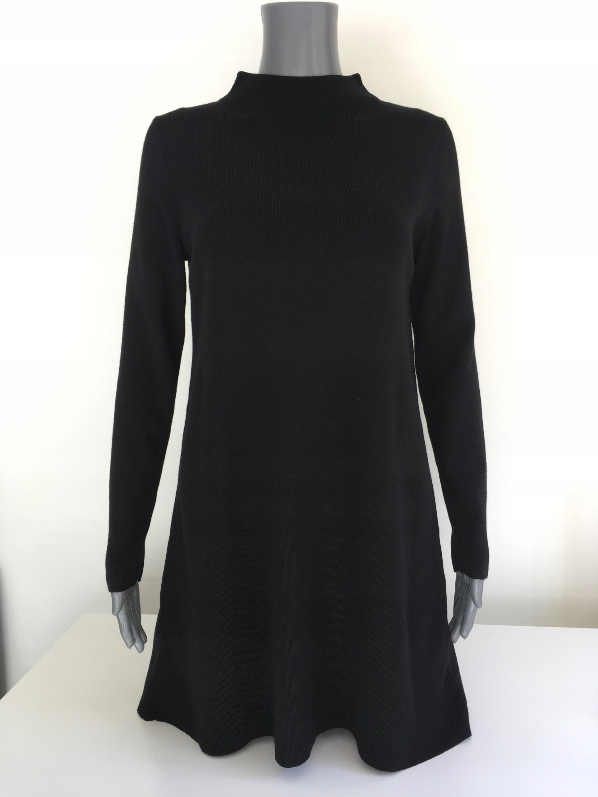 COS elegancka tunika, 100% wełna, czarna, rozm. M