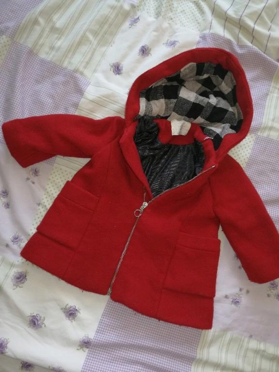 płaszcz zara baby czerwony kurtka parka 92