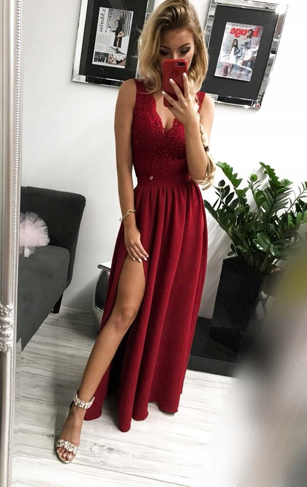 38fe49d8 Sukienka maxi glamour bordowa XS - 7565344872 - oficjalne archiwum ...