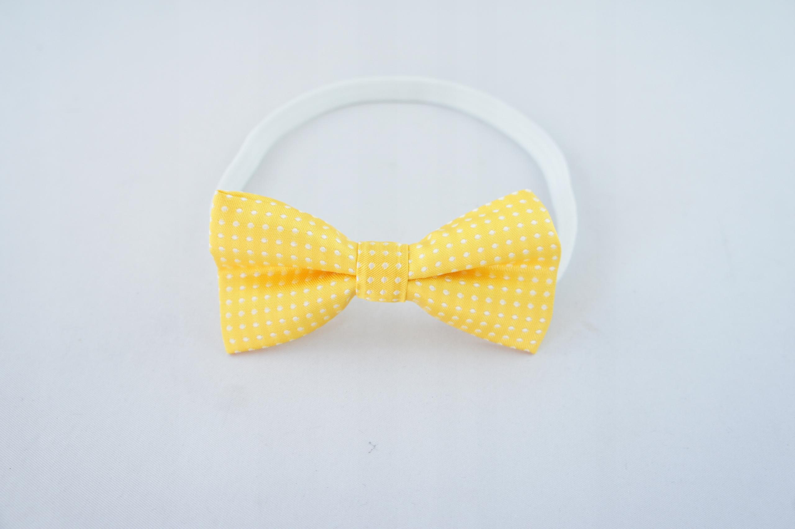 Żółta Opaska dla dziewczynki na głowę KROPKI