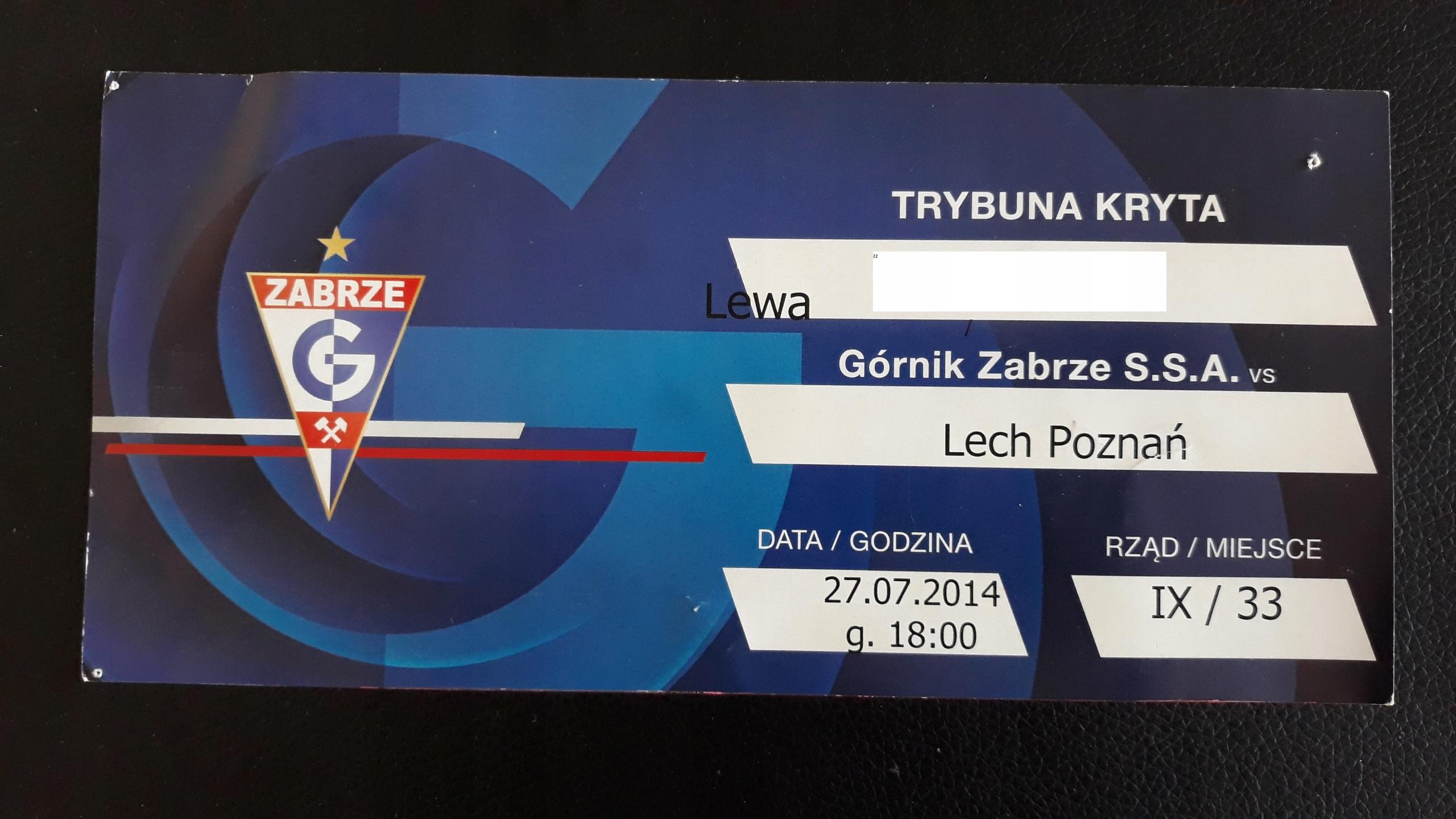 zaproszenie Górnik Zabrze- Lech Poznań 27.07.2014