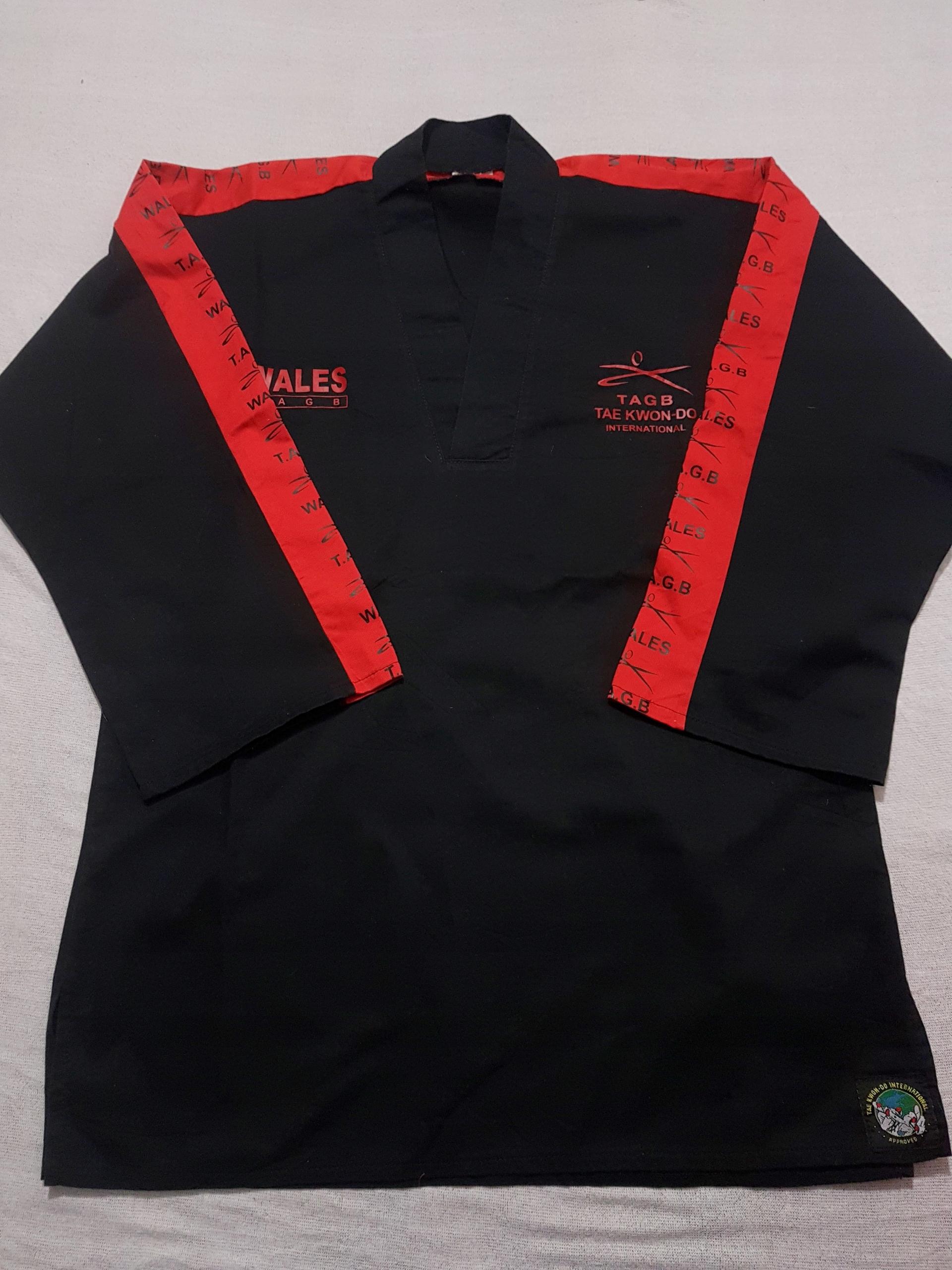 4046. Bluza kimono dobok czarno-czerwony r 180 cm
