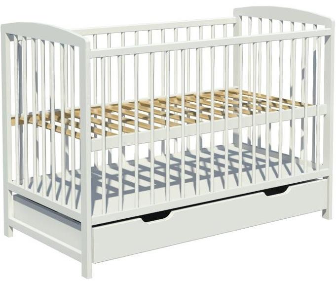 Łóżeczko dziecięce KACPER szuflada 120x60cm białe