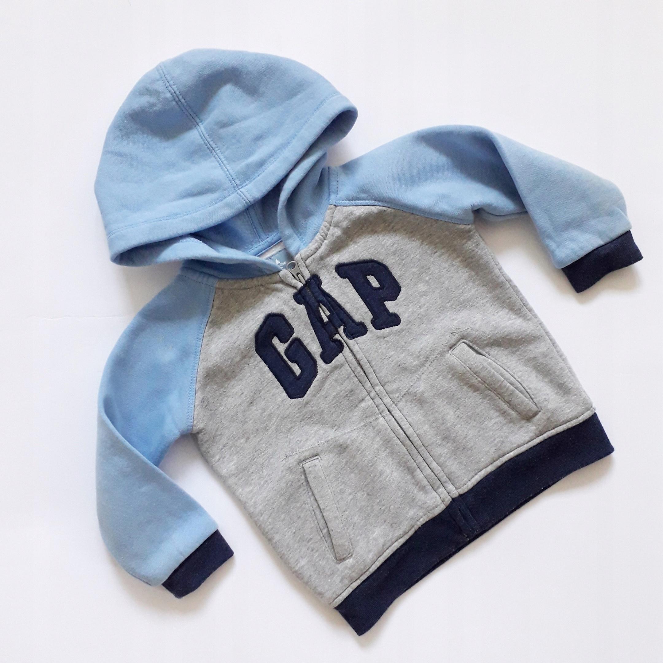 GAP*niebiesko-szara bluza z kapturkiem 80-86