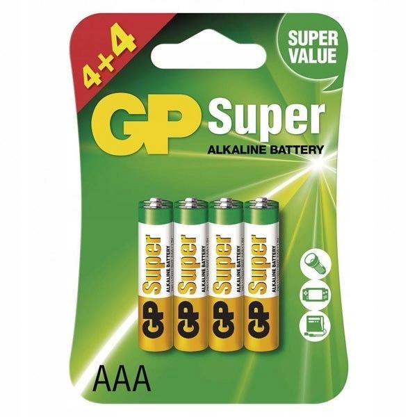 Bateria alkaliczna, AAA, 1.5V, GP, blistr, 4+4 pac