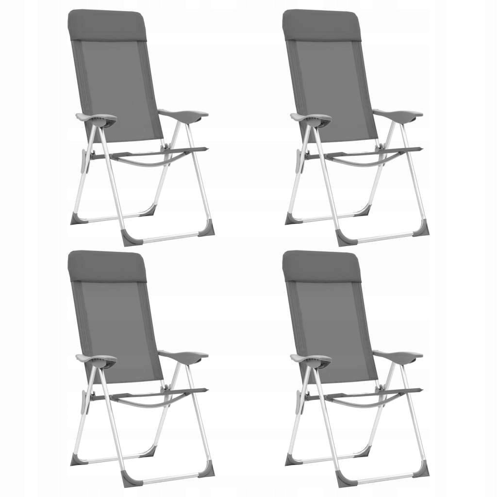 Składane krzesła turystyczne, 4 szt., szare, alumi