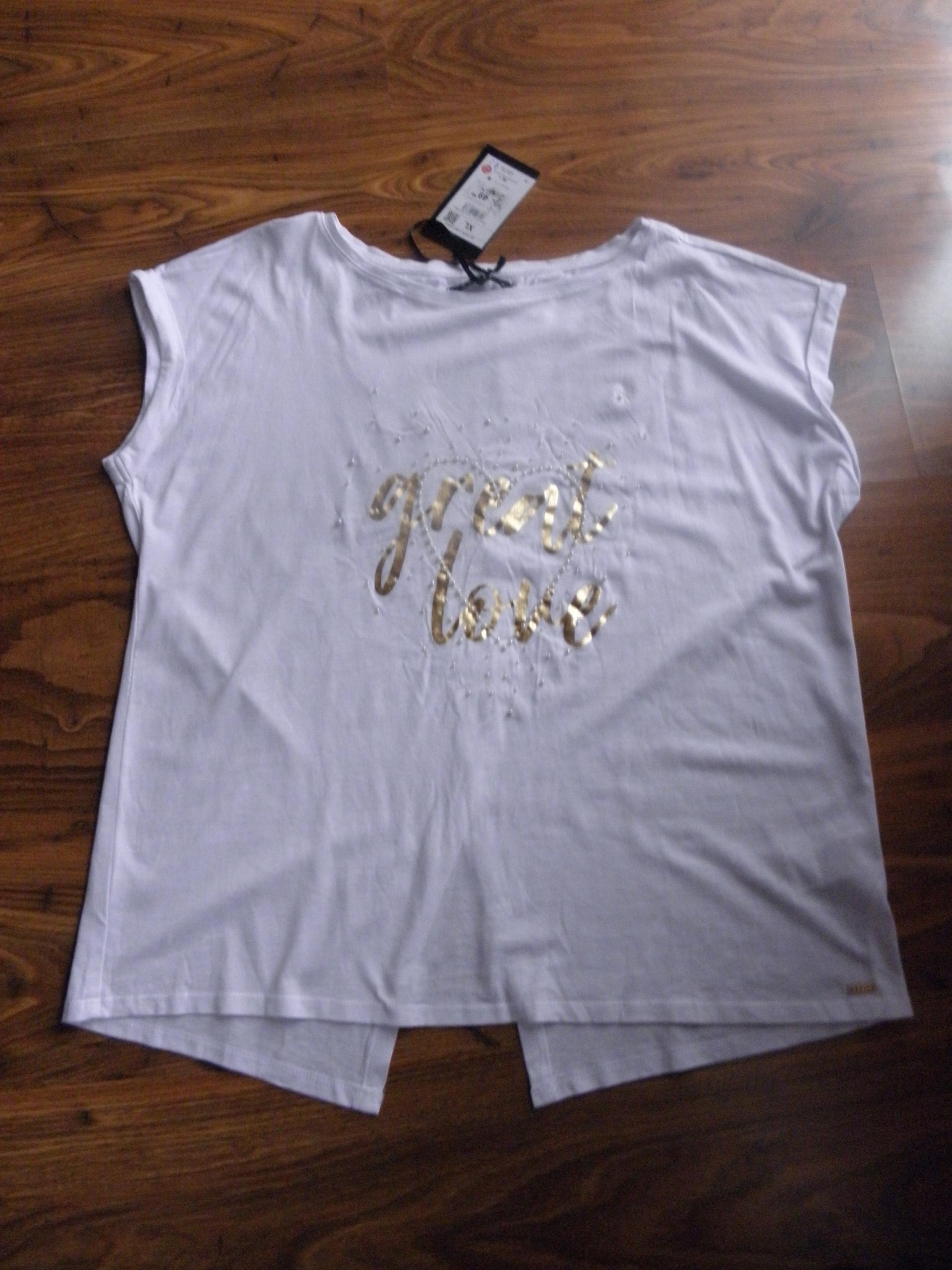 asymetryczna biała nadruk perły MOHITO nowa XL