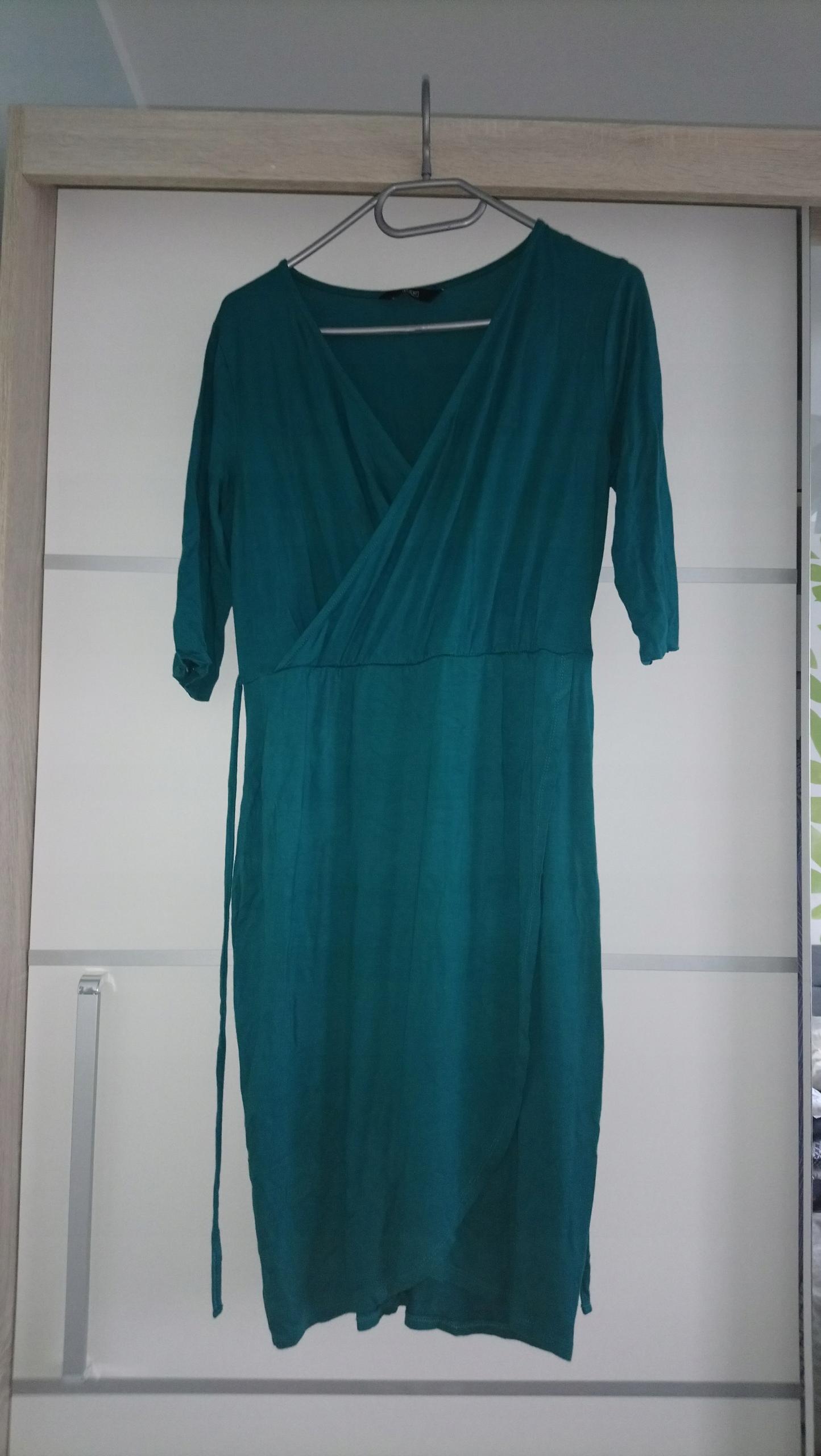 Kopertowa sukienka F&F 38 butelkowa zieleń