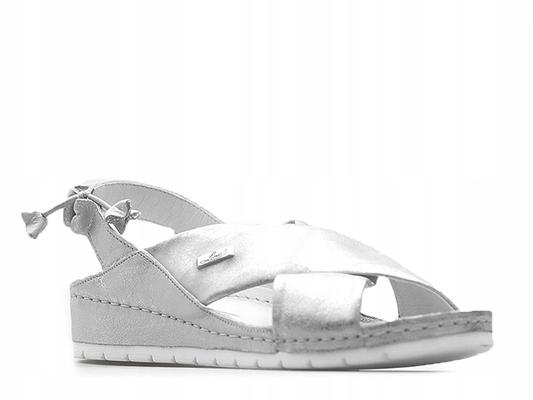 Sandały Lemar 50056 Srebrne przecierane 39