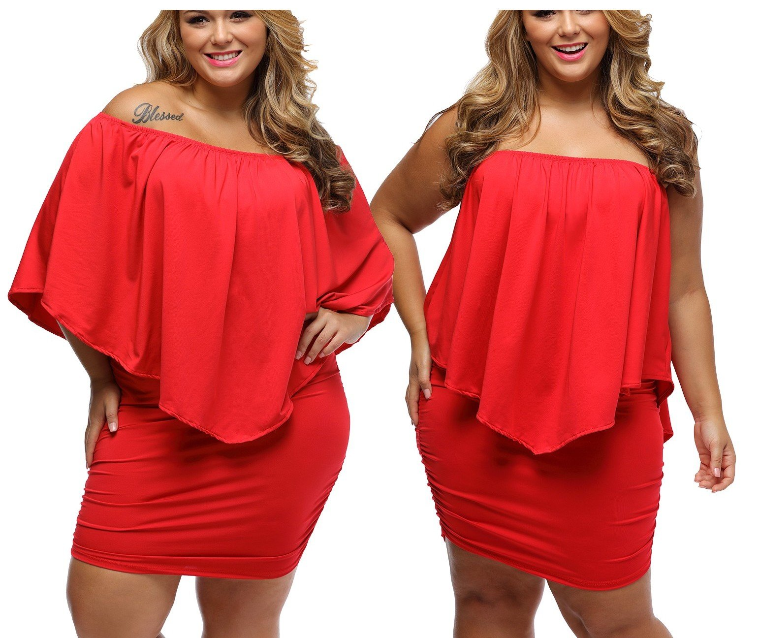 Czerwona sukienka dla puszystych Plus Size 42 XL
