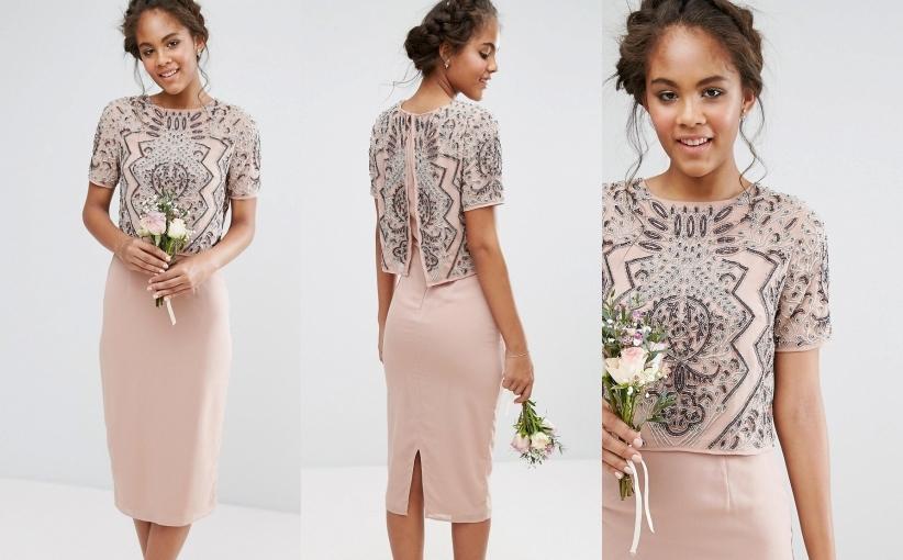 Asos MAYA nude midi sukienka zdobiona szyfon 42 XL