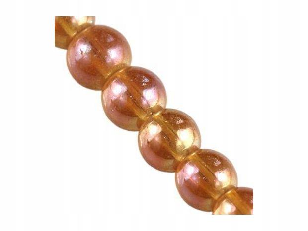 sznurek 80 cm : koraliki Bubble AB różane 6 mm