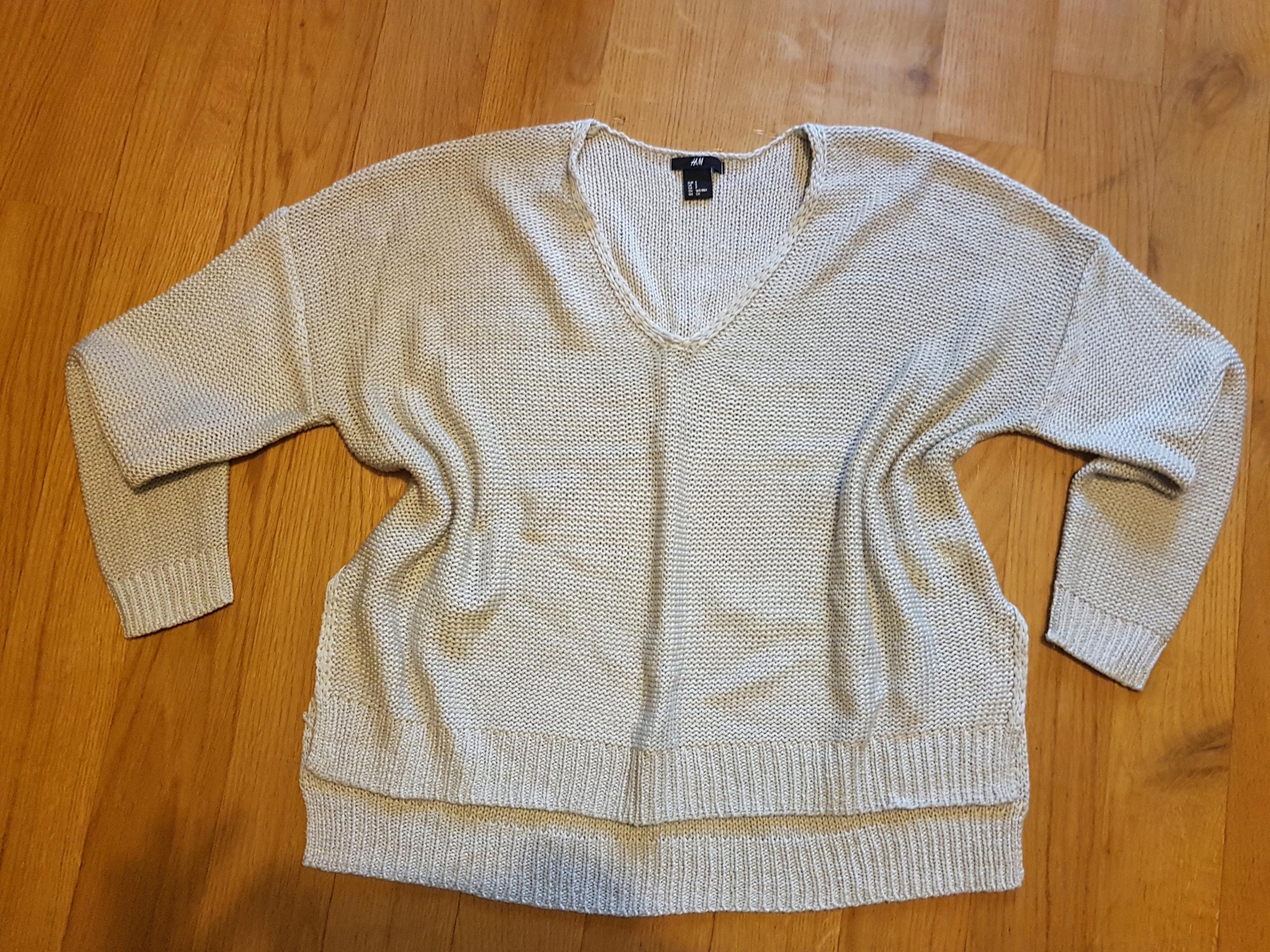 H&M 36 S sweterek rozcięcia po bokach oversize