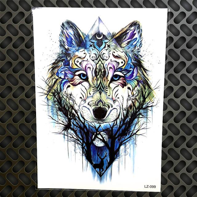 Tatuaż Zmywalny Wilk W Lesie Niebieski 7338935976