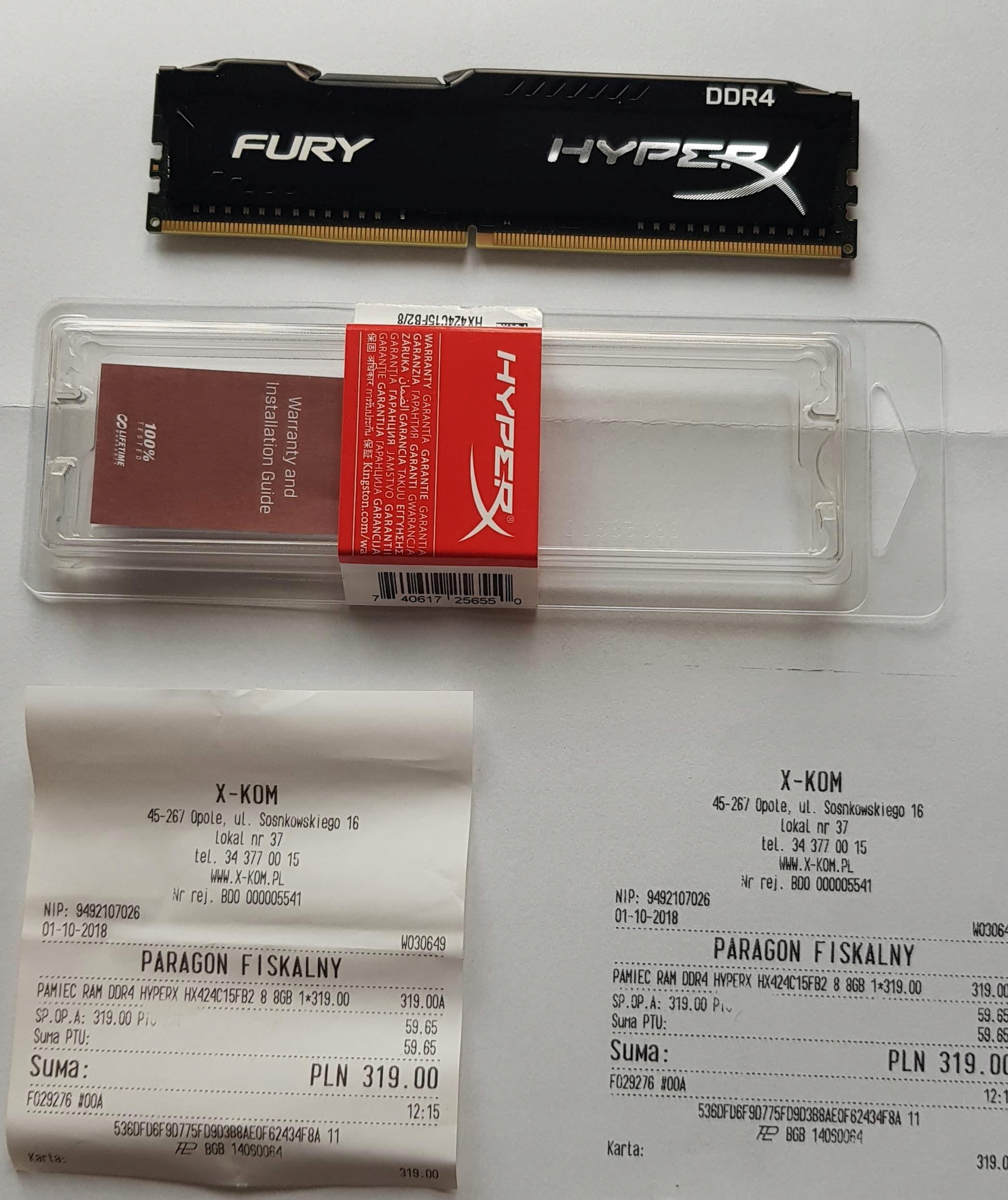 HyperX Fury, DDR4, 8 GB,2400MHz, CL15 HX424C15FB/8