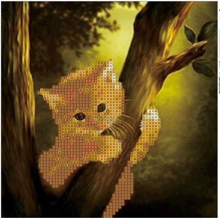 5D DIY obraz malowanie koralikami haft kot diy