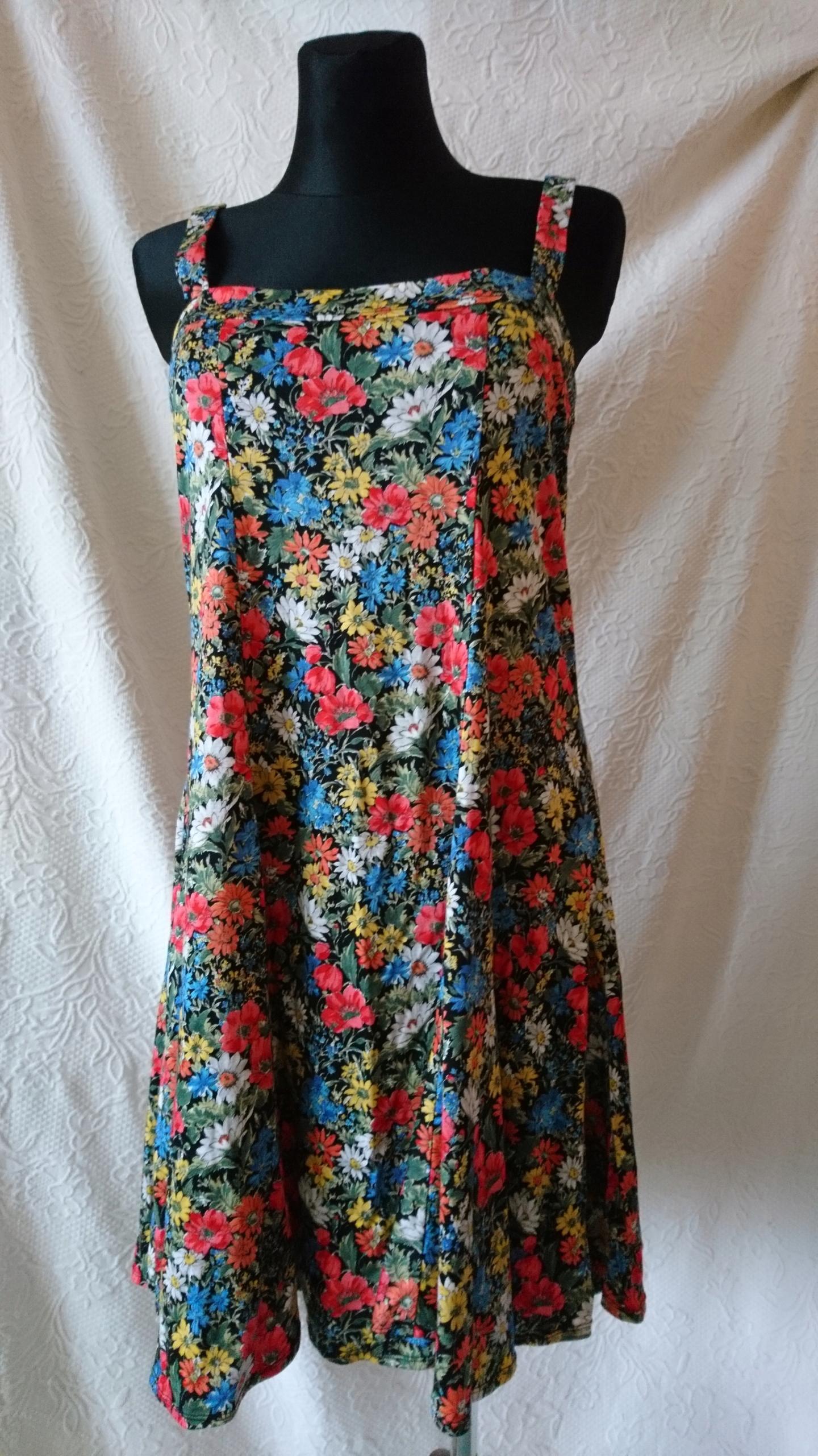 df751535c1 Sukienka kolorowa maki chabry stokrotki L XL - 7805656220 ...