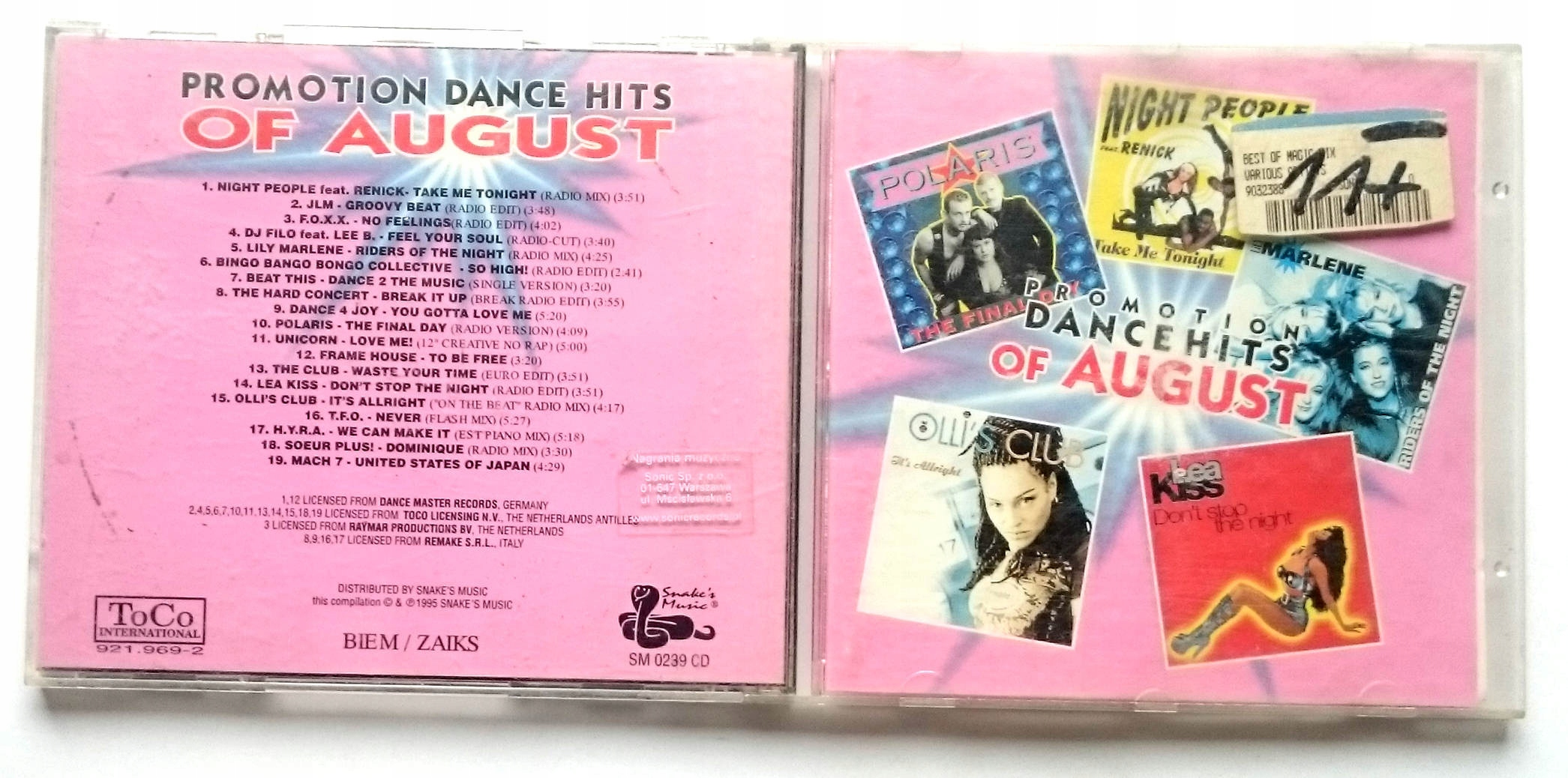 Various  Promotion Dance Hits Of August 95 SM0239