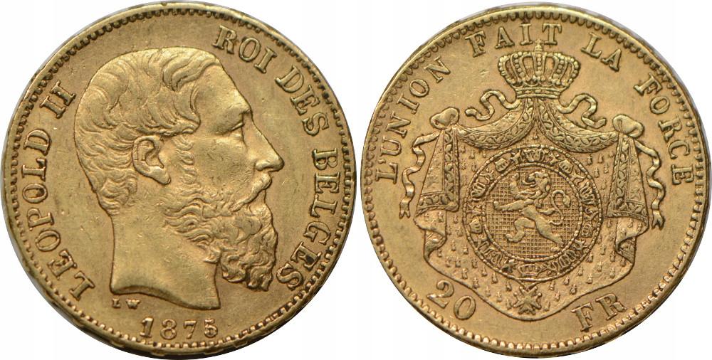 R38.BELGIA 20 F 1875 LEOPOLD II STAN:II GCN