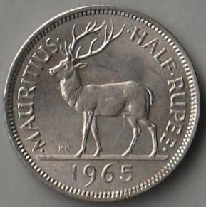 Mauritius / 1/2 rupii / 1965 / jeleń / ER II