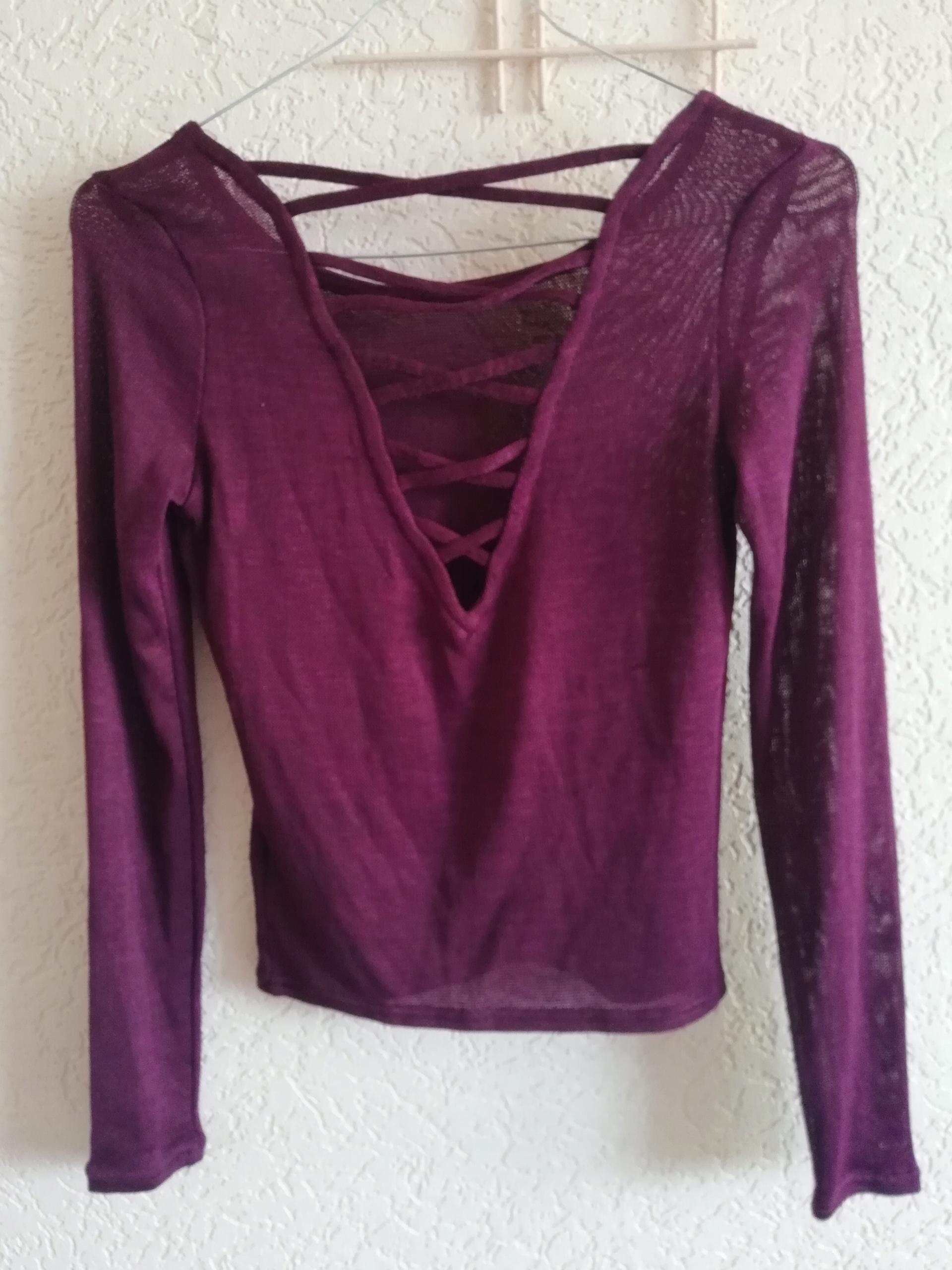 H&M bordowy sweter bluzeczka 34 XS