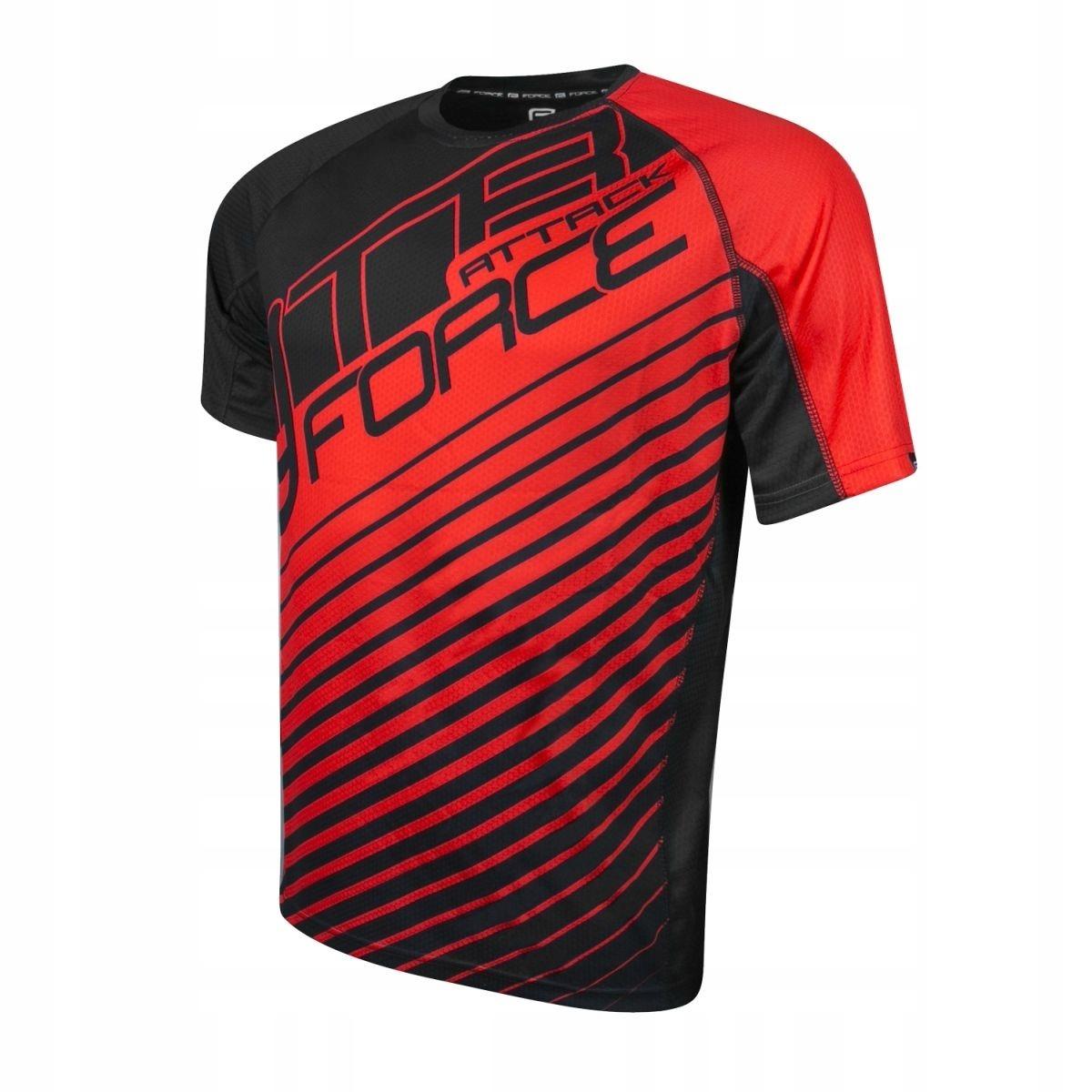 FORCE ATTACK koszulka rowerowa czarno-czerw r.M