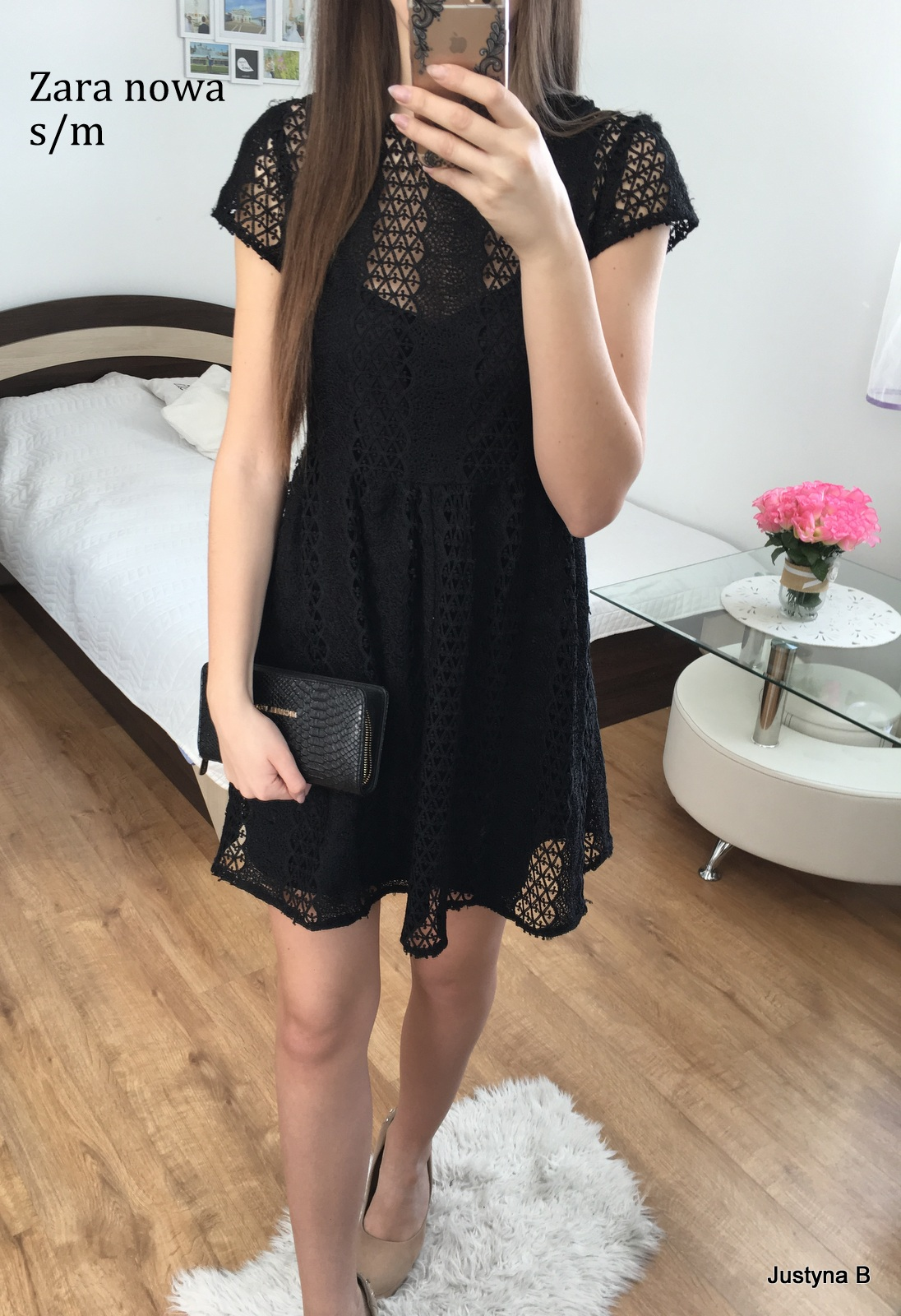e210ad27172128 Zara czarna sukienka koronka rozkloszowana S m - 7234483424 ...