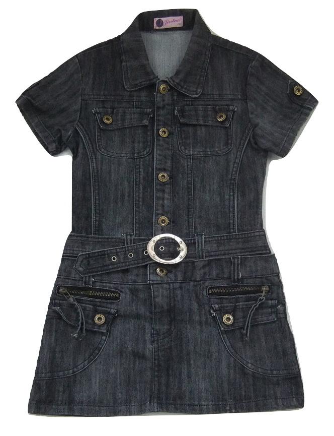 jeansowa sukienka tunika 140cm grafitowa