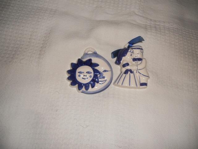 2 sztuki ozdoby ścienne małe ceramiczne