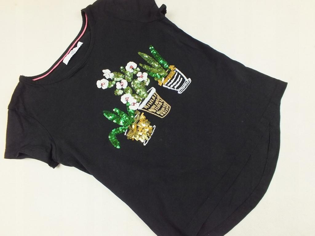 M&S czarna bluzka kwiatki w doniczkach 122