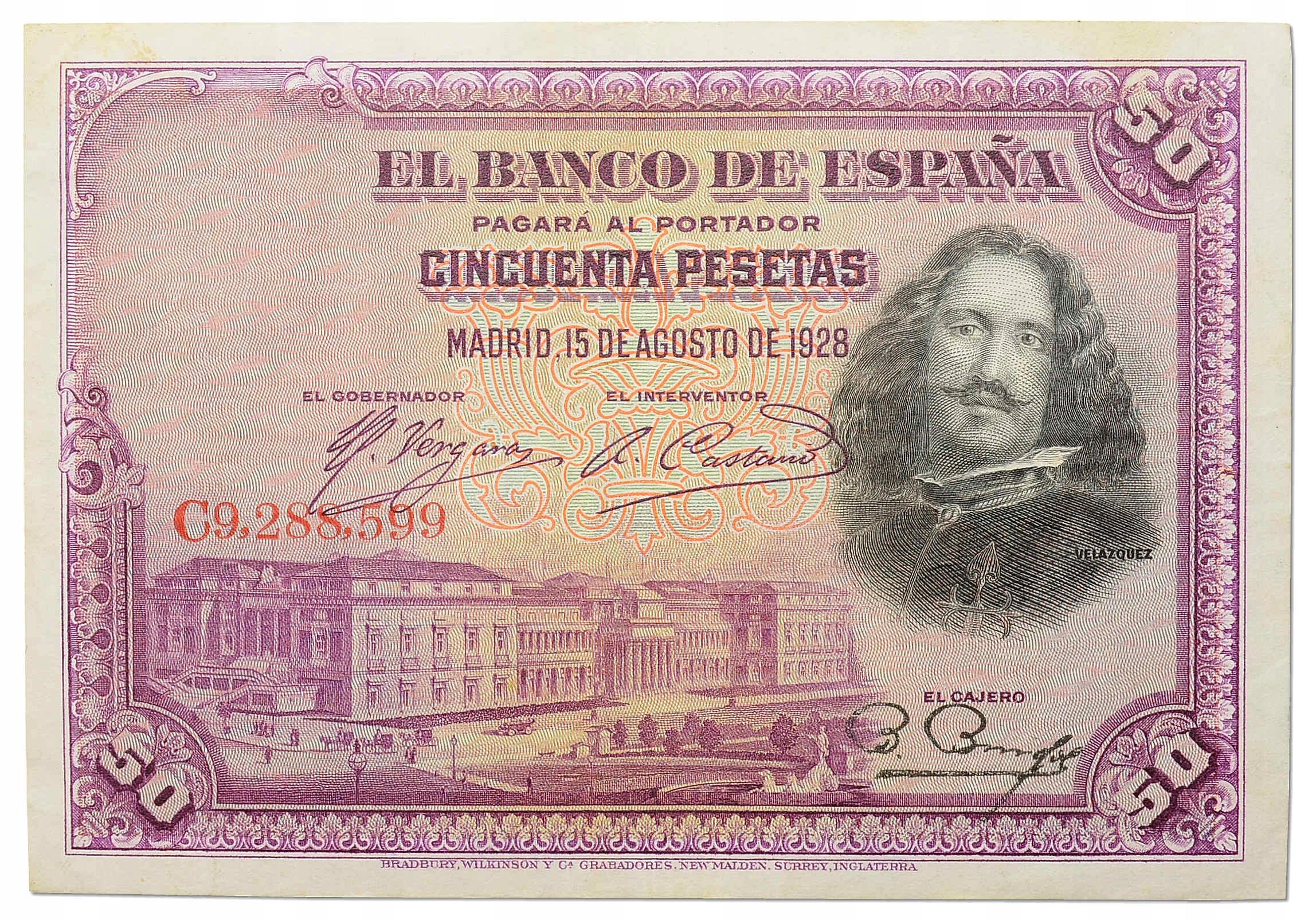 9.Hiszpania, 50 Peset 1928, P.75.b, St.3+