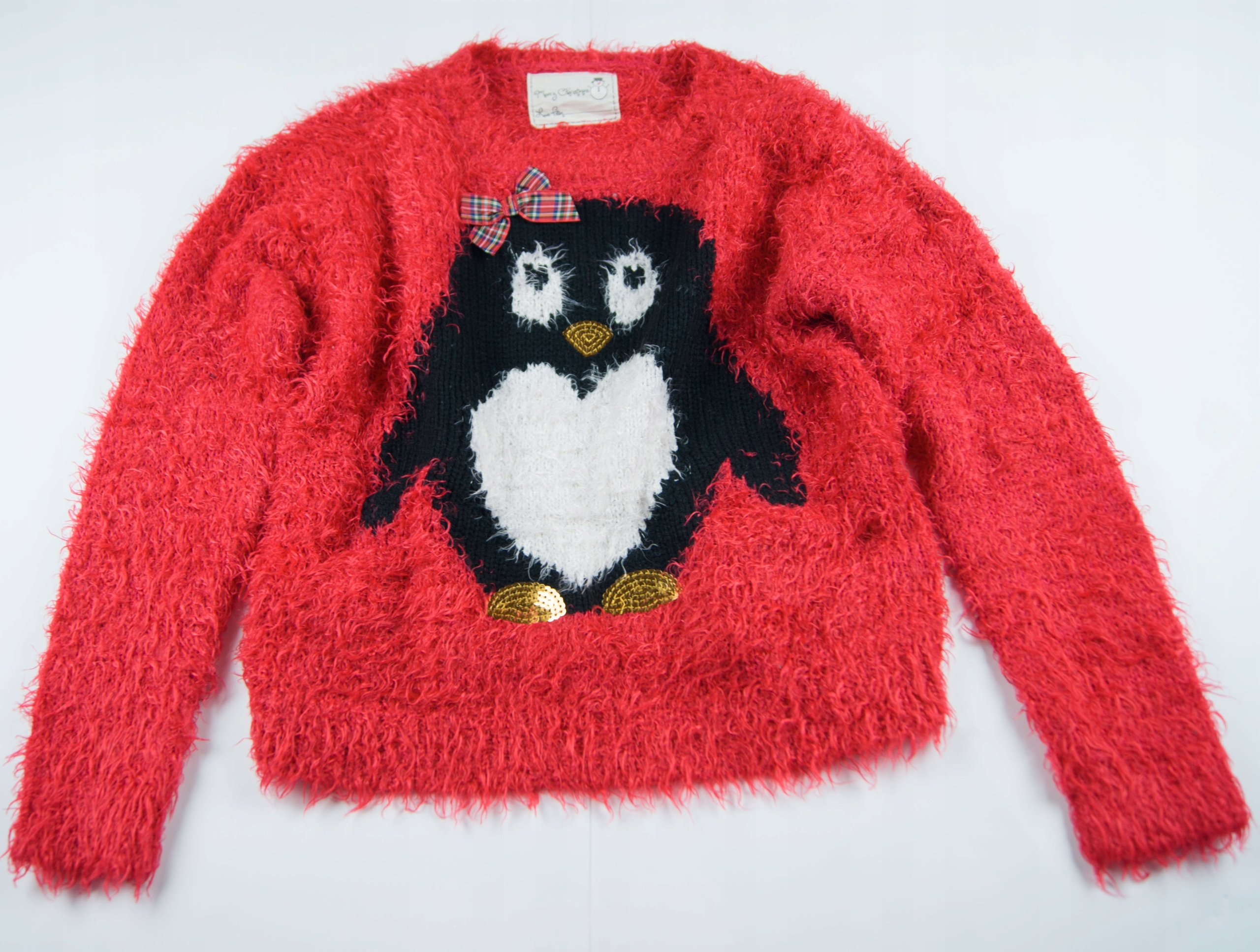 ST BERNARD 140 Włochaty sweterek z pingwinem 10lat
