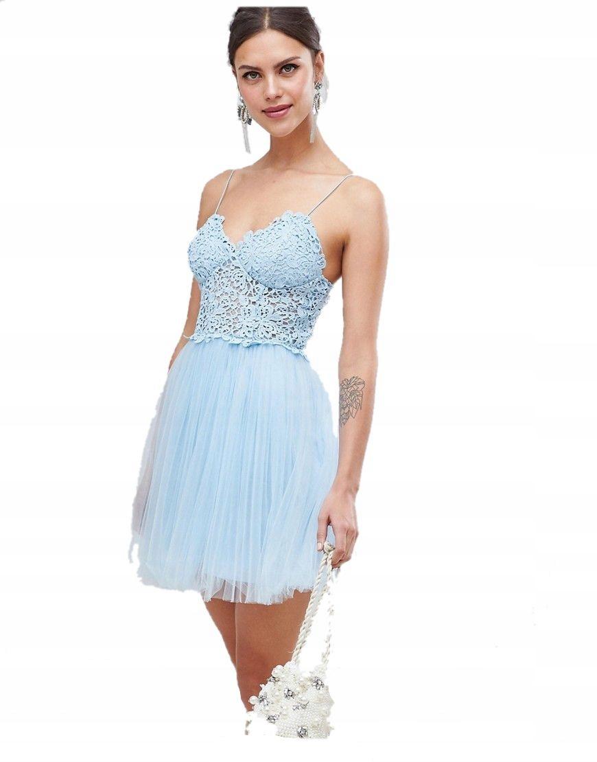 sukienka NIEBIESKA TIULOWA mini TIUL tutu 3XL 46