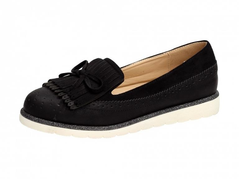 Czarne mokasyny, buty damskie VICES 7140-1 r39