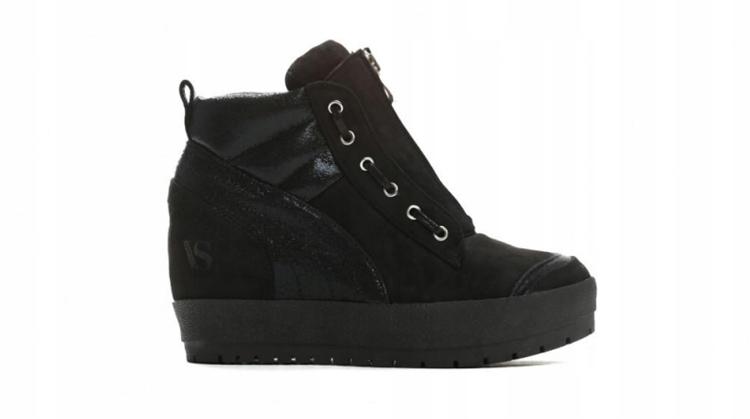 ac0220d93a8d3 Czarne Sneakersy buty koturn suwak WYPRZEDAŻ! 39 - 7714753352 ...