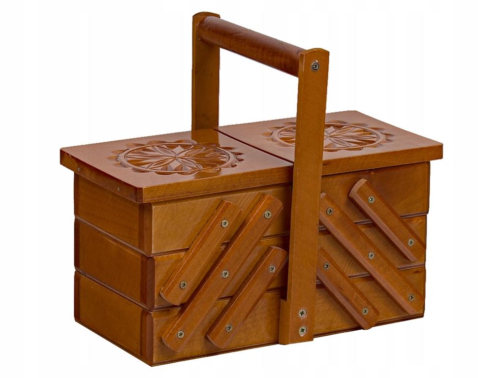 mała NICIARKA skrzynka drewniana zdobiona brązowa
