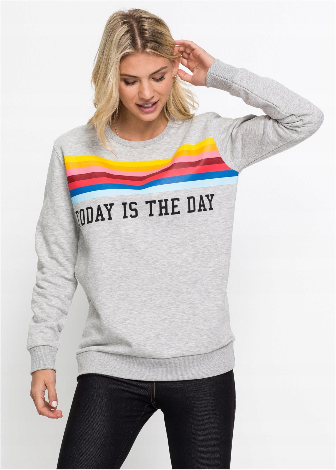 Bluza-Sweatshirt popiel z napisem R 36/38