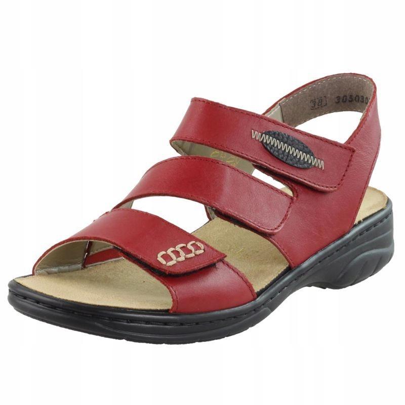 Czerwone Sandały damskie Rieker 64573-33 R.41