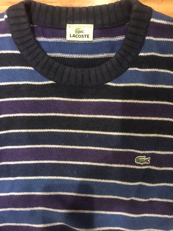 Sweter gruby w paski LACOSTE bawełna wełna L