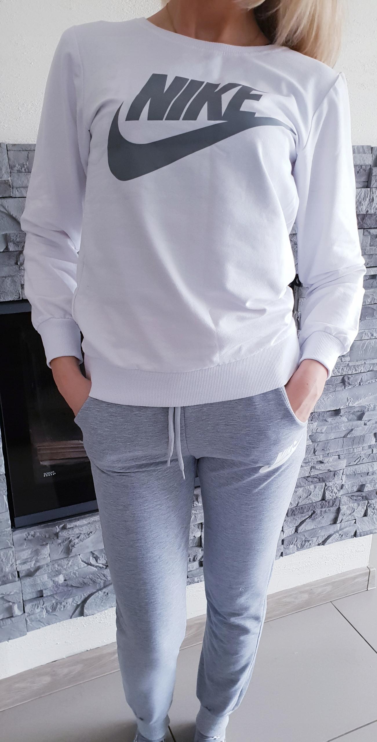 NOWY kobiecy i stylowy dres damski biało-szary M