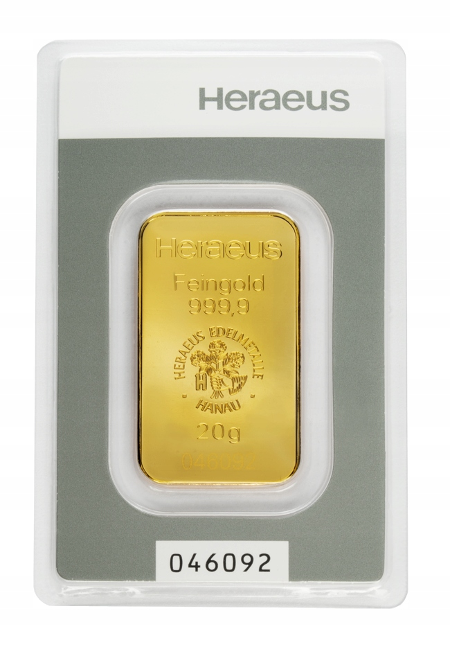 Sztabka Złota - Heraeus - 20 g