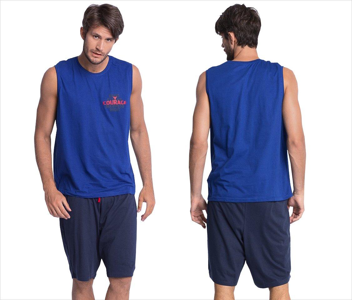 Atlantic bawełna EMN019 piżama granat-niebieska L