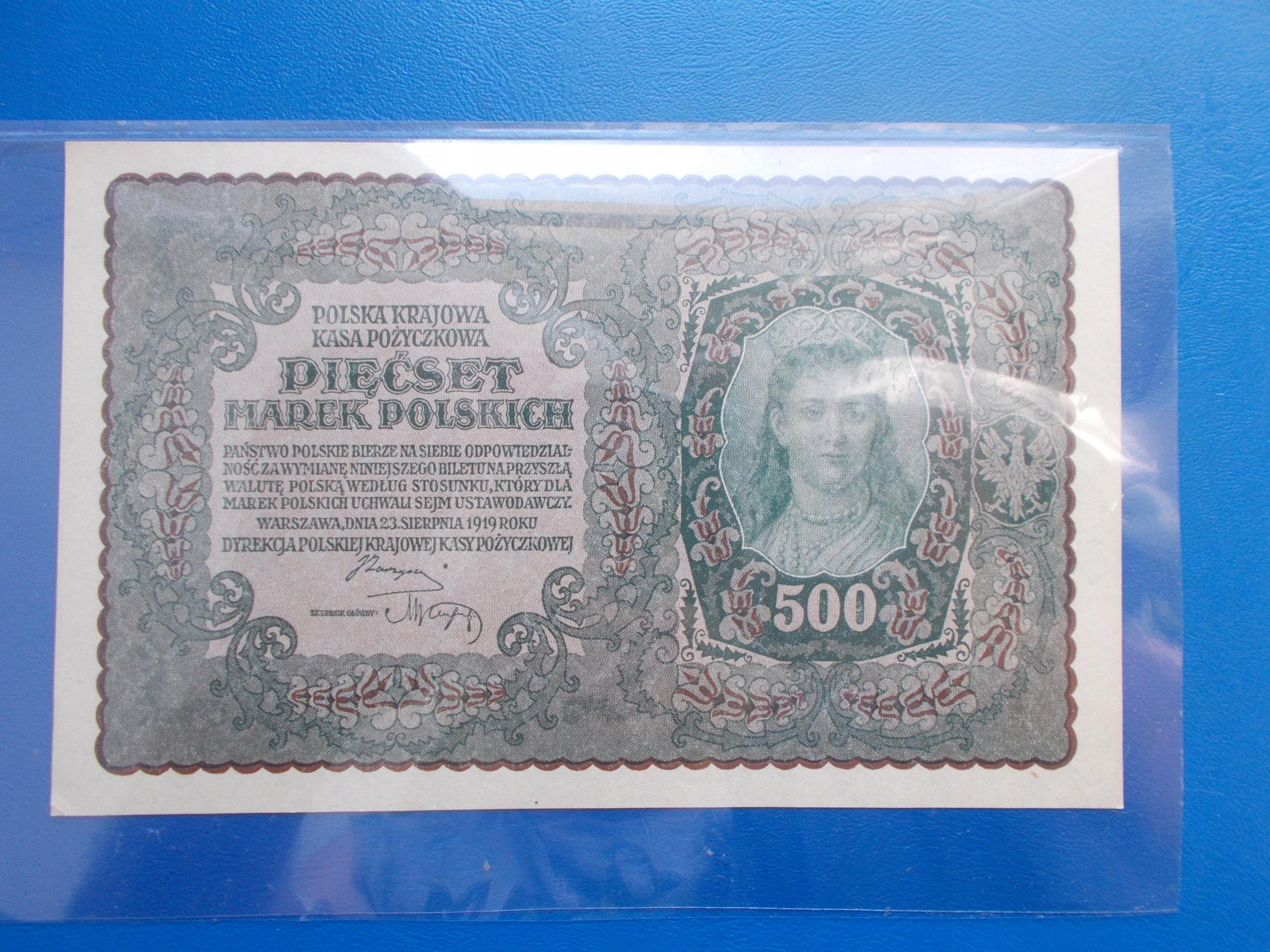 500 MAREK POLSKICH-1919-I Serja BF-rzadki-UNC
