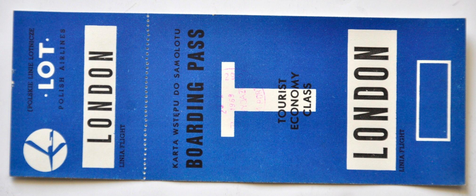 PLL LOT KARTA POKŁADOWA LONDYN 1969 R.