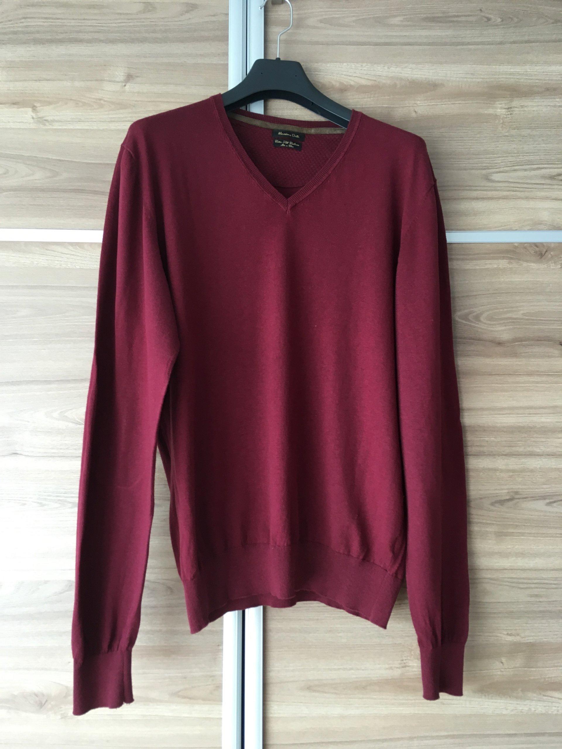 Sweter Massimo Dutti r.XL, bordowy, skórzane łaty