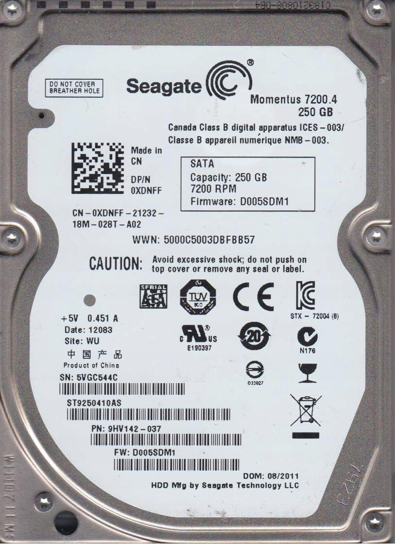250GB SATA II HDD SEAGATE ST9250410AS 16MB 2,5''