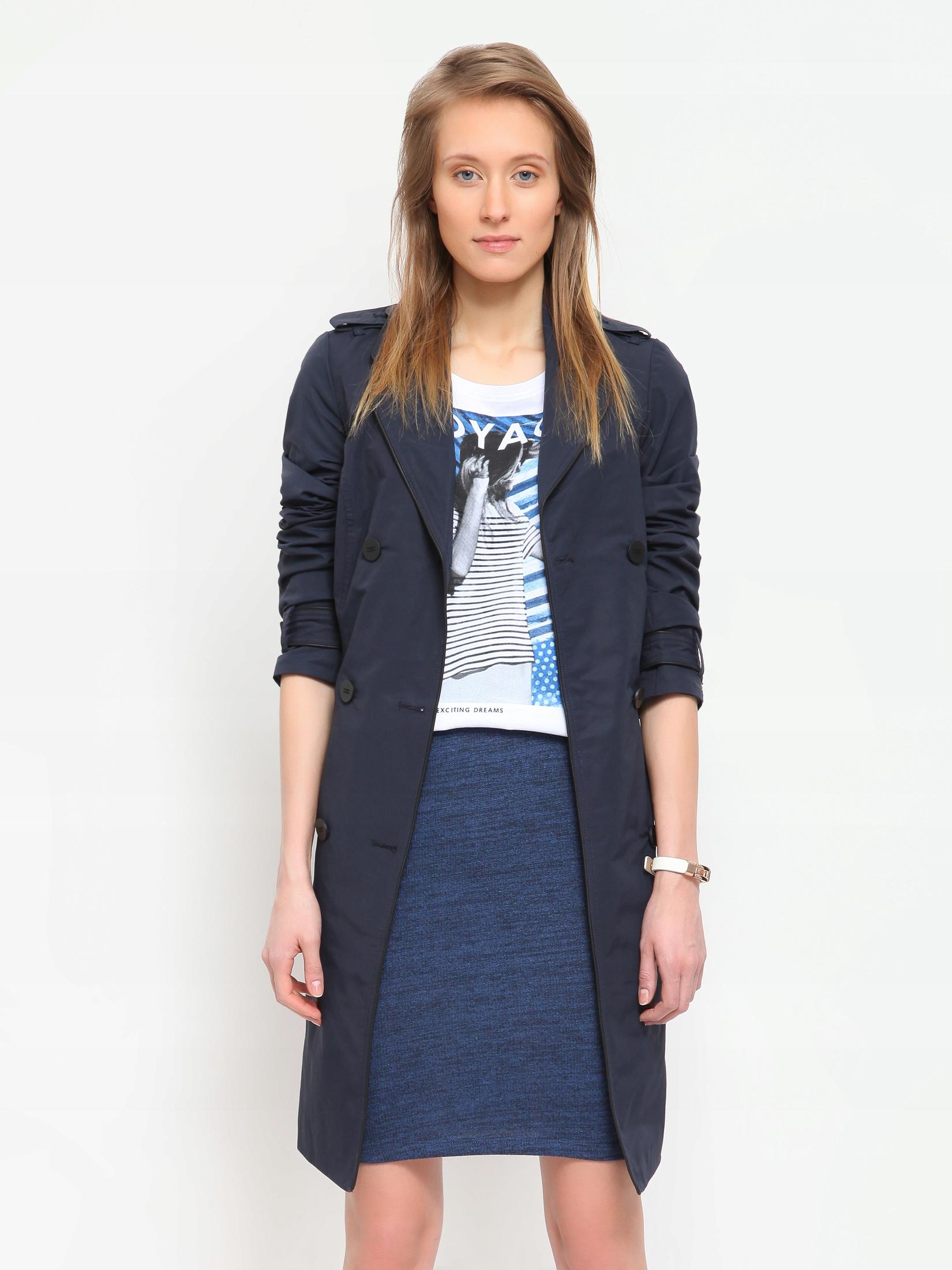 Granatowy płaszcz damski Top Secret 44 SPZ0281GR44