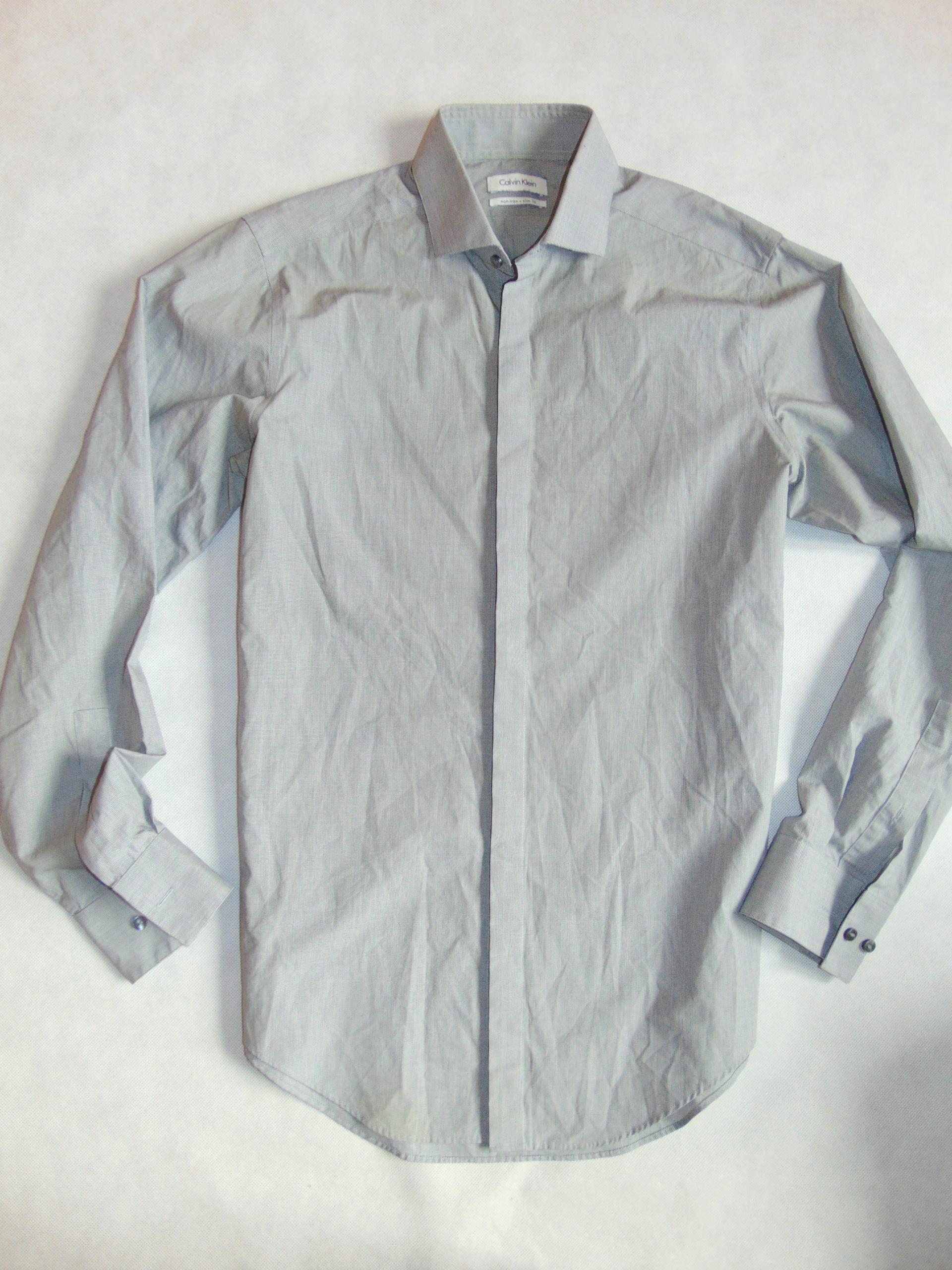 CALVIN KLEIN koszula męska KLASYK GREY r 34 / 35