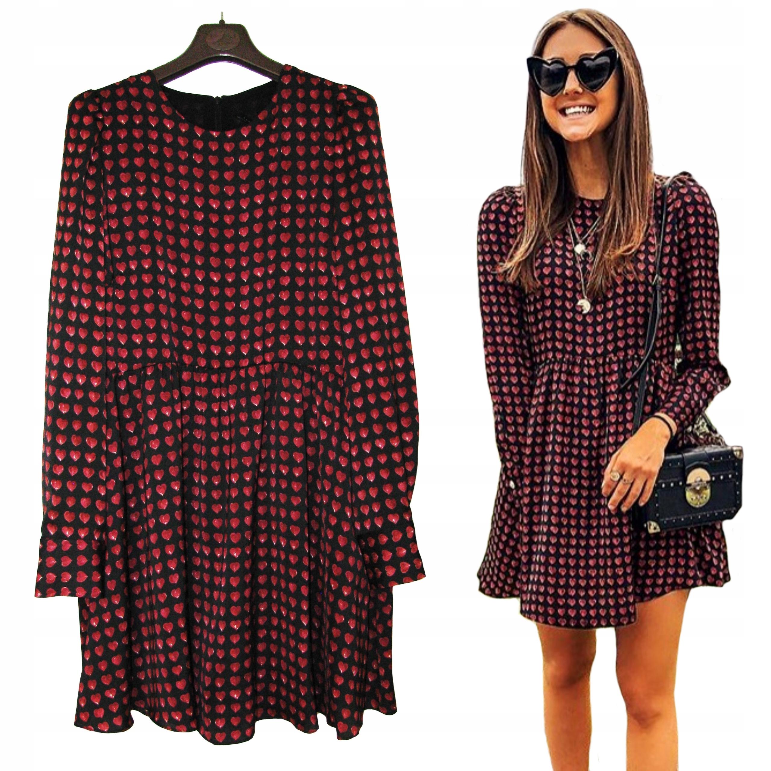 b22b8bde16 ZARA Czarna Sukienka Kombinezon Czerwone Serca S - 7800350443 ...